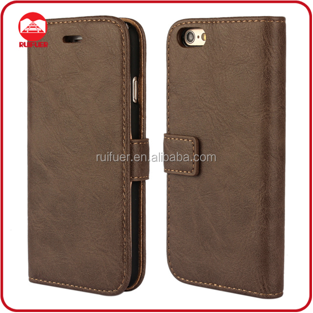Manufacturer Wholesaler Mobile Phone Book Style Retro Vintage Flip Antique Wallet Case for Iphone 6 Plus