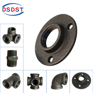 "Black Iron Flanges three holes without words Floor Flanges 1/2"" 3/4"" 1"" Malleable iron Flanges Base Wall Fastener"