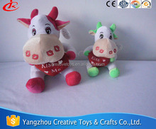Lovely soft stuffed plush cow with heart accessories animal toys