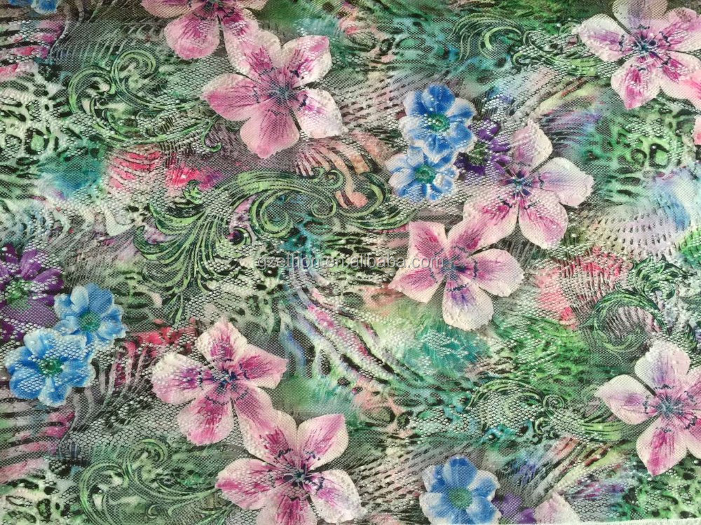 New design floral printed polyester lace fabric for dress