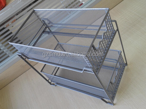 Kitchen 2 Tiers Metal Mesh Drawer Storage Cabinet