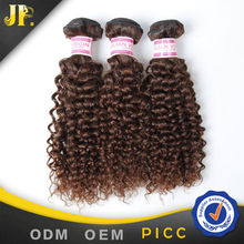 JP hair double drawn strong weft color #4 brazilian tight curl remy hair weave