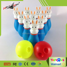 Kids Indoor Toy Cute Rabbit Model Pin Bowling Set with 2 Balls