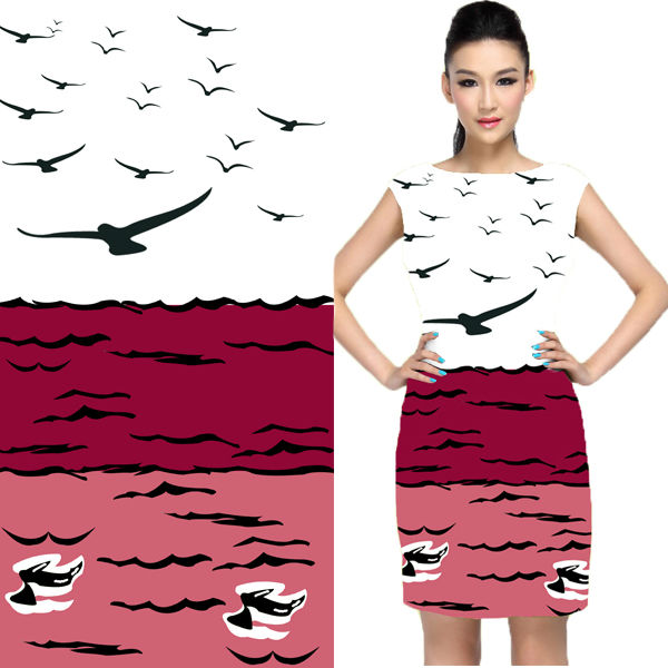 Birds Pattern Print Cotton Fabric Wholesale For Women