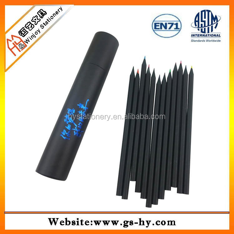 7'' soft lead full black wooden colored pencils 12 pack in paper tube cylinder