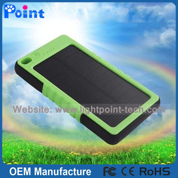 Waterproof 5000mah solar power bank with led light