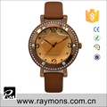 Top selling classic unique designs case leather quartz watches