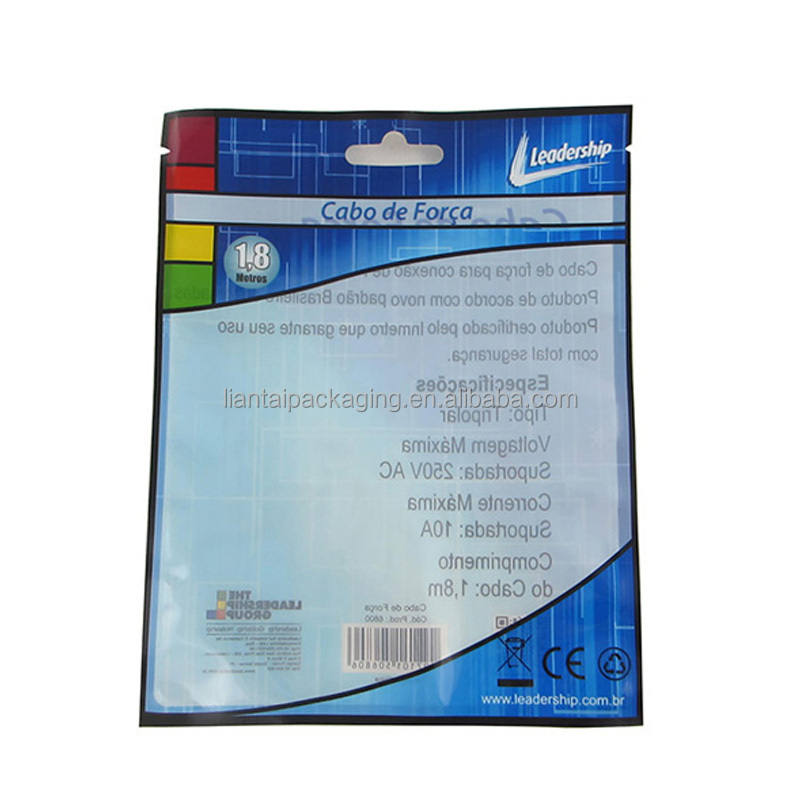Top zip plastic bag food packaging zipper reusable food pouch