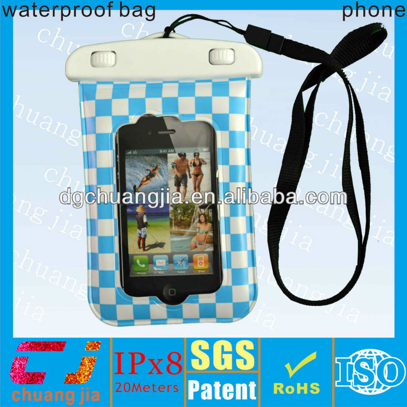 summer popular surfing pvc cell phone case for iphone 4/4s with ipx8 certificate