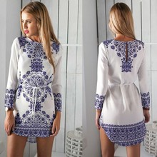 F10444A 2016 ladies spring design fashion long sleeve dress print dress