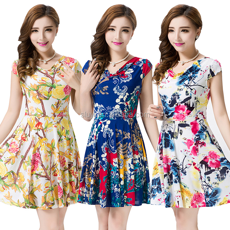 Large size women's short-sleeved floral summer online prom dress shopping