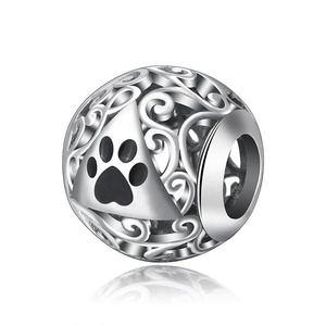 925 sterling silver Animal cat dog paw bracelet making Beads Charms