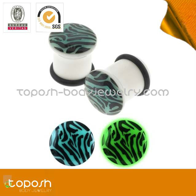 new zebra glowing in the dark ear plugs body piercing jewelry