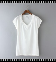 Latest Casual Dress Design Ladies Organic Cotton White T-Shirts
