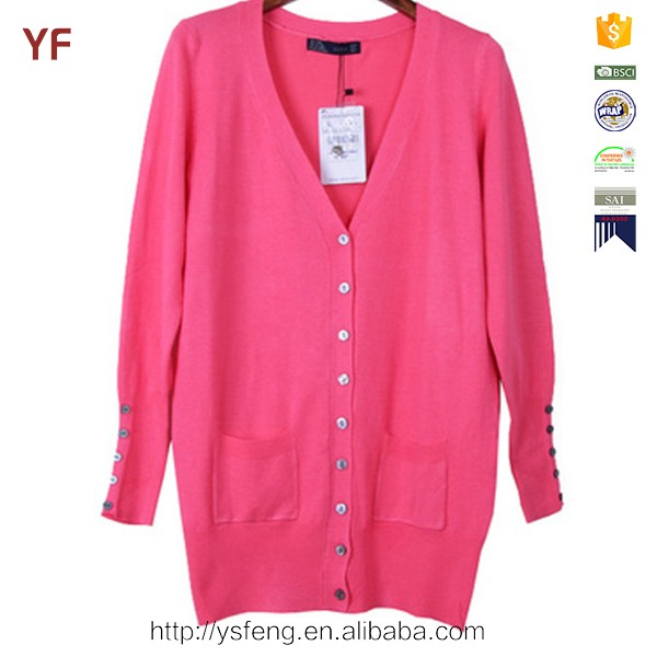 colorful V-neck Long Sleeve button long women cardigan