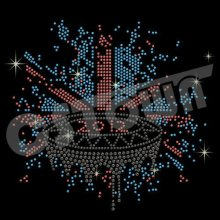 2012 London stadium design iron on sports rhinestone transfer