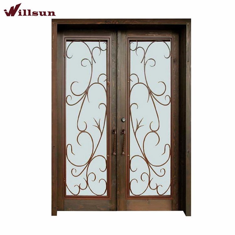 French Style Lowes Exterior Wooden Frame Wrought Iron Glass Entrance