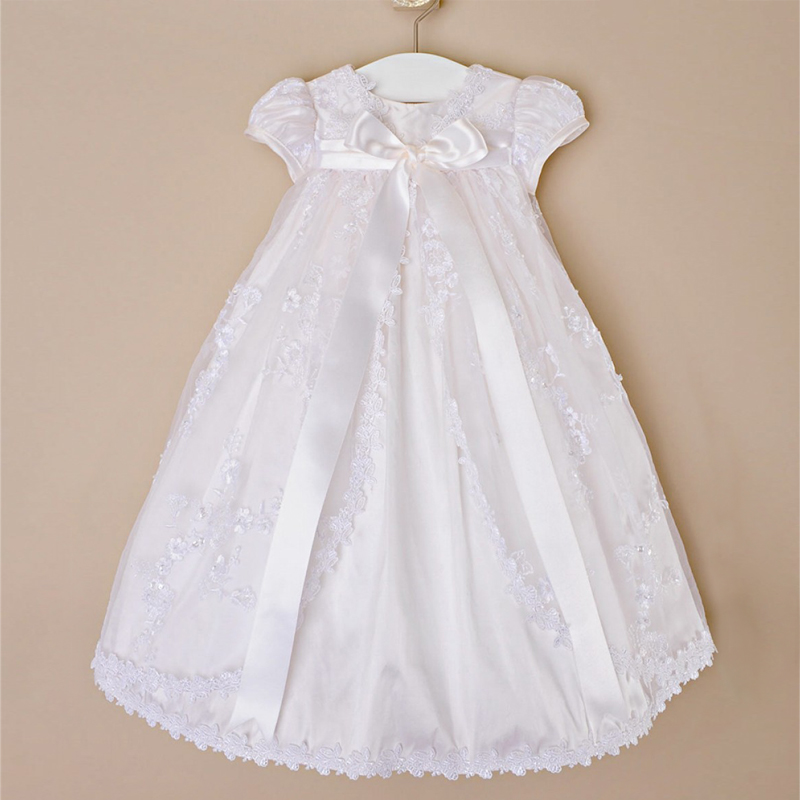 First Communion Dress Vintage Applique Baby Girl Baptism Christening Dresses Beige Baptism Bow Gown