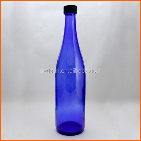 High quality wholesale blue liquor bottle