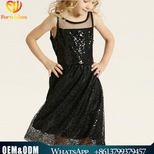 Beautiful Long Frocks Black Sequin Fabric New Model Designs Girl Child Dress