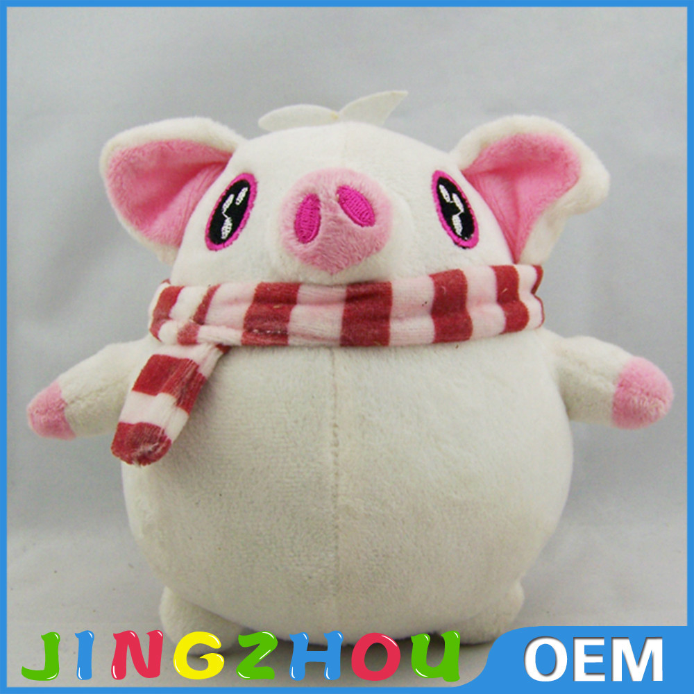 "10"" 25cm standing stuffed plush pig Toy,stuffed plush pink pig toy ,wear scarf stuffed pig toy"
