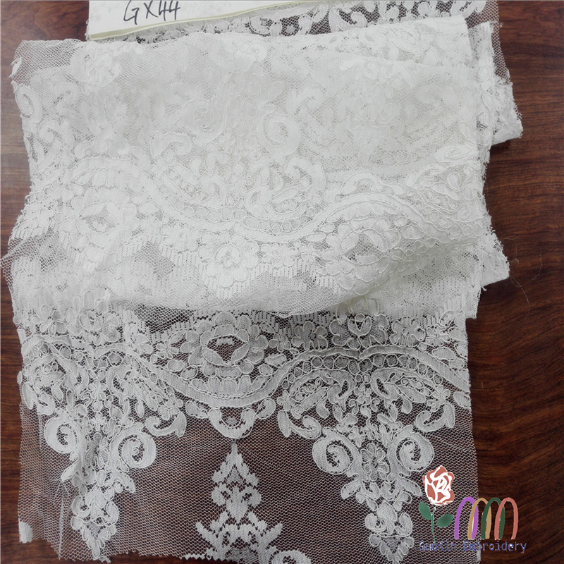 Off white jacquard embroidery alce with cord, plies yarn jacquard lace fabric for lady dress