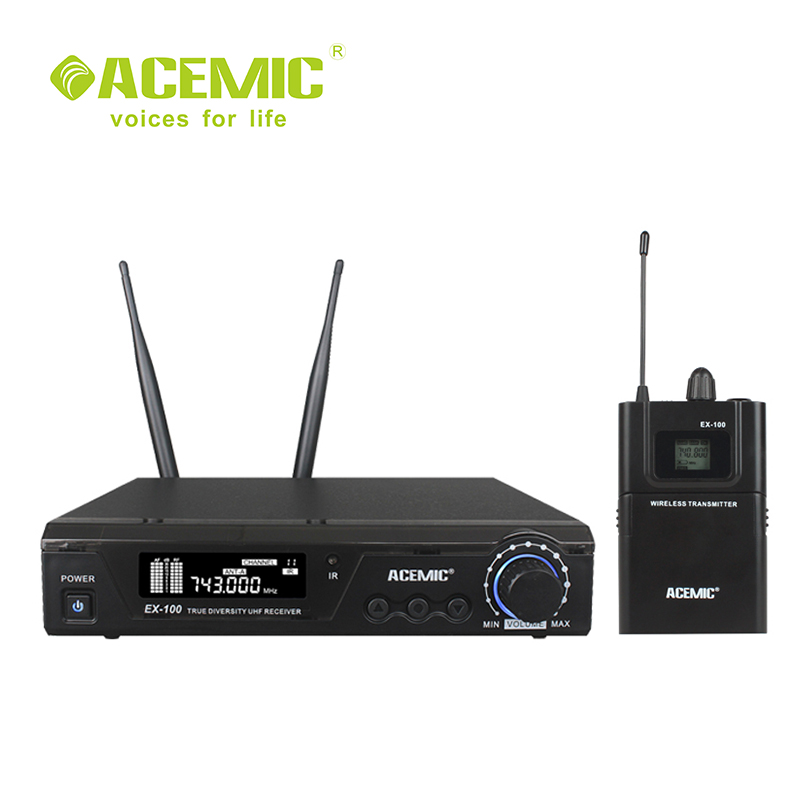 ACEMIC EX100 BP Professional Stage true diversity bodypack uhf wireless tie clip microphone