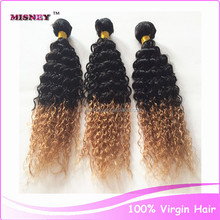 Cheap human hair weaving extensions 100g/pc 10-30inch Strong Weft Ombre Color T1B/27 unprocessed Indian Virgin hair Jerry Curl