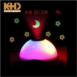 KH-0235 Start Laser Light Alarm Clock projection Night Light with Changing Color