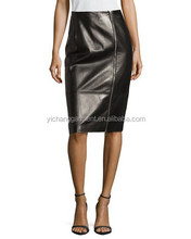 Plonge Italy Leather Zip-Front Short Skirt, Black