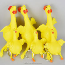 plastic funny keichen keychain, personalized 3d keychain, cheap Screaming Chicken keychains in bulk