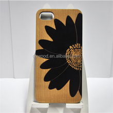 Wooden cell phone case PC bottom wood rim phone shell protective smart phone case with engrave back cover