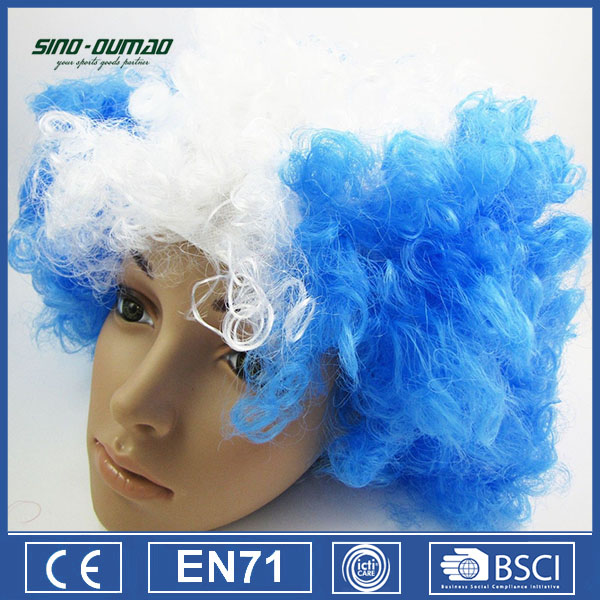 Blue And White Sports Fanatic Wig Football Sports Fans Wig