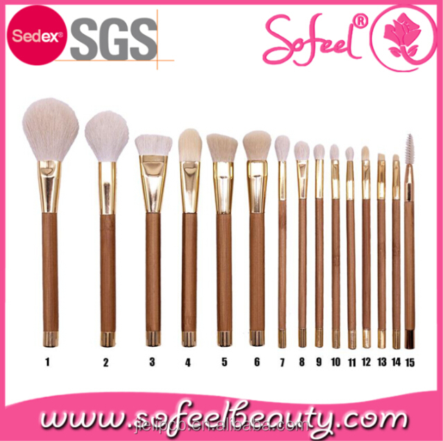 Sofeel 15pcs bamboo handle aluminum ferrule professional makeup cosmetic brush set