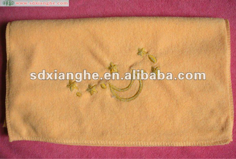 orange hand towel with logo embroidery