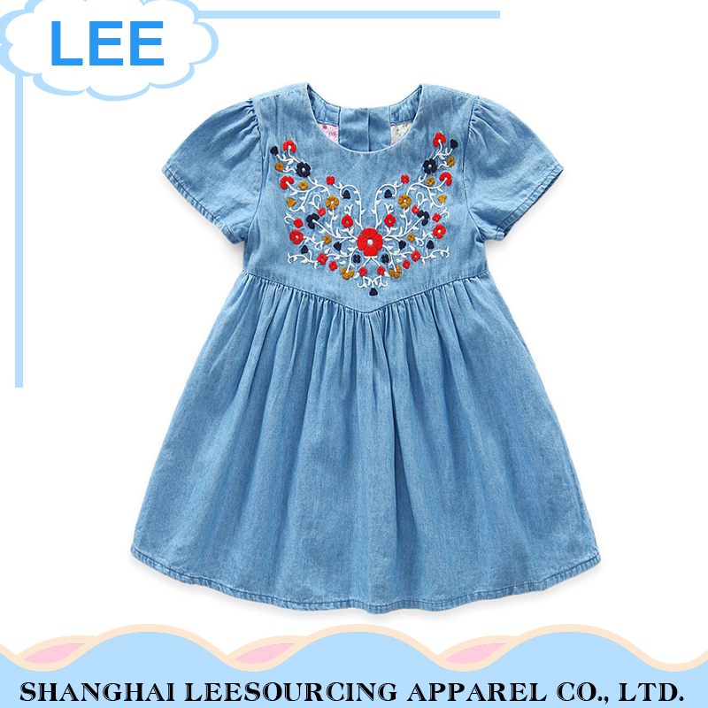 High quality kids clothes full printing kids girl casual wear cotton dress