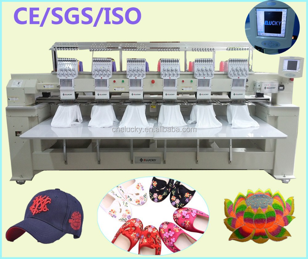 Multi head embroidery machine cording device for hat flat shoes bags t-shirt embroidery