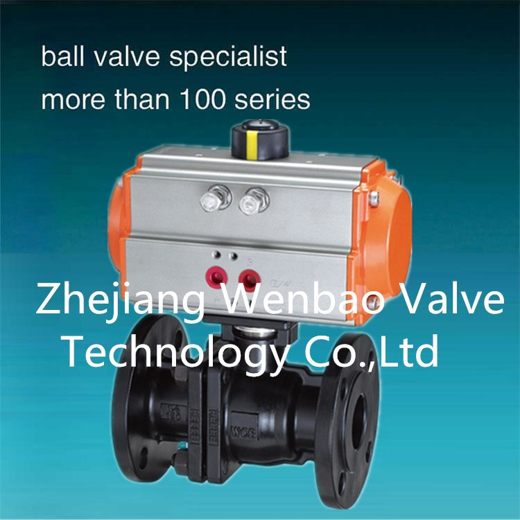 High quality two pieces flanged floating ball valve with pneumatic actuator/carbon steel ball valve /wcb ball valve 2pc