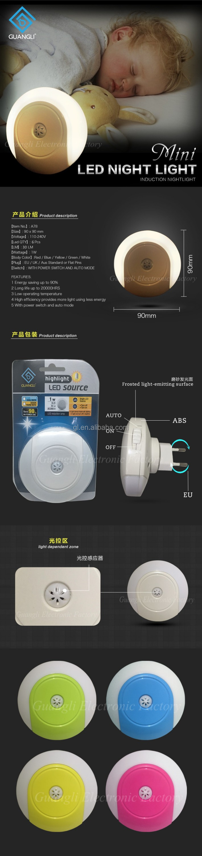 CE ROHS BS SAA CB bedroom small sensor night light A78