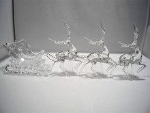 2016 hot sale three acrylic reindeer and sleigh Christmas decoration
