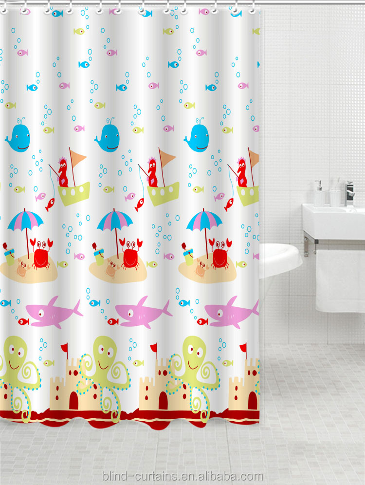 Various Styles Lovely Animal Pattern Printed Shower Curtain