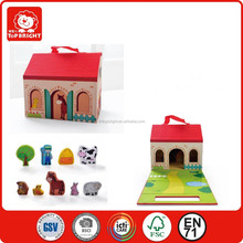 Portable wooden play house set/ children play house with farm set/cheap portable house toy for kids playing --TopBright Brand