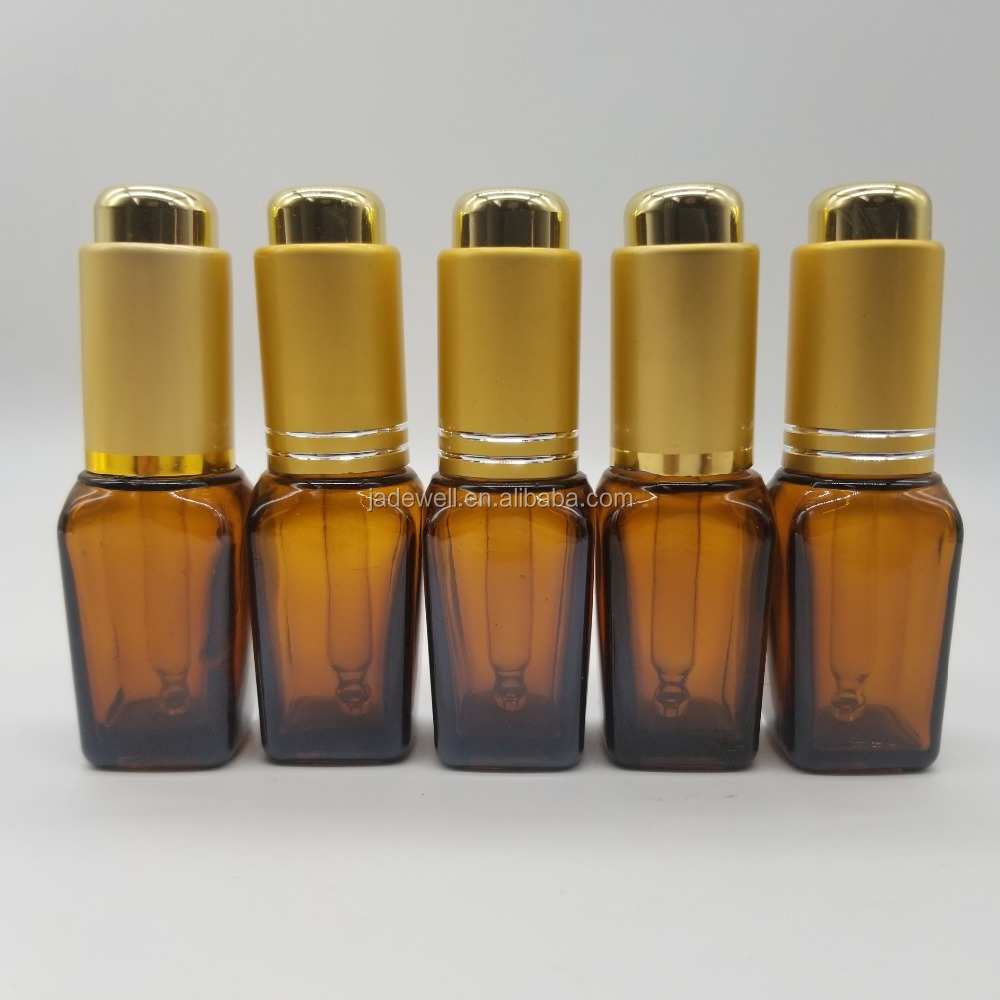 10ml glass smoke oil Essential oil amber bottle with golden dropper