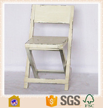 Handmade Antique White Wooden Folding Chair / Dining Chair Foldable