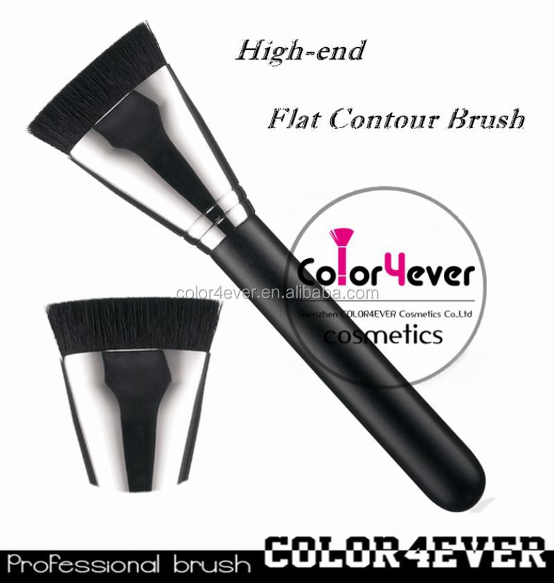 Wholesale hot sell 163 flat contour makeup brush with copper leopard makeup brush set