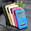Double window view pu leather + silicone flip magnet universal phone case