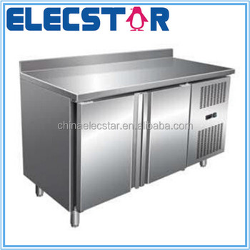 double door auto defrosting stainless steel refrigerated counter for kitchen