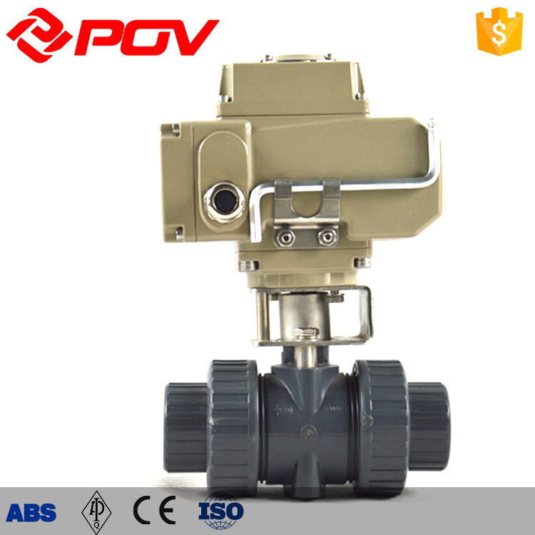 2 way PVC motorized ball valve by union connection