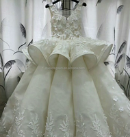 Factory direct cheap bridal wedding ball dresses with luxury bubble gathering on big ball long train skirt dress