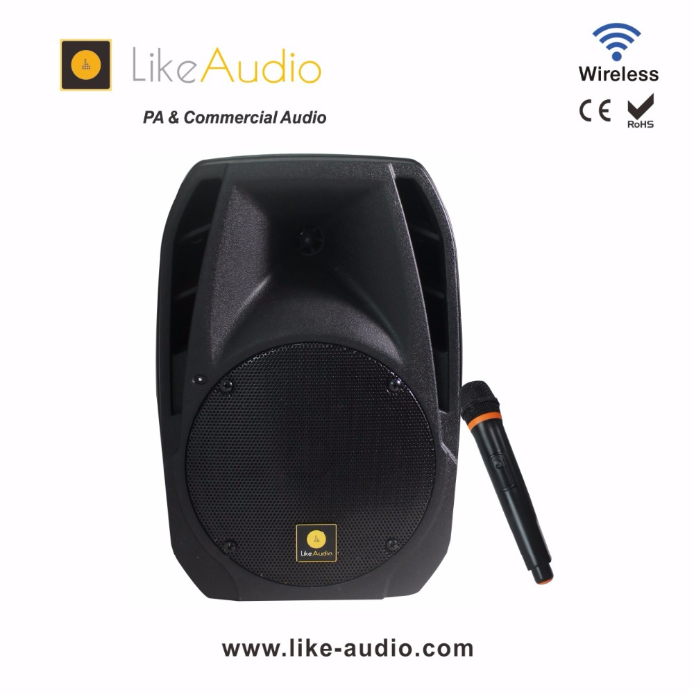 12 inch and 15 inch wireless portable PA system with microphone, radio, LCD and equalizer